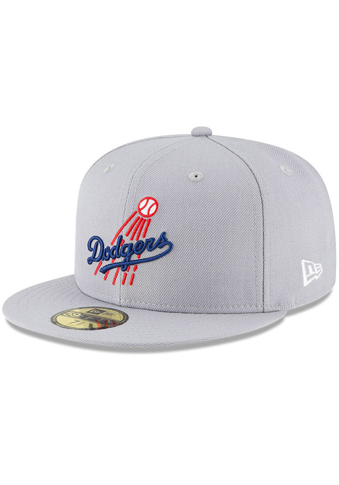 New Era Los Angeles Dodgers Mens Grey Cooperstown 59FIFTY Fitted Hat - Image 1