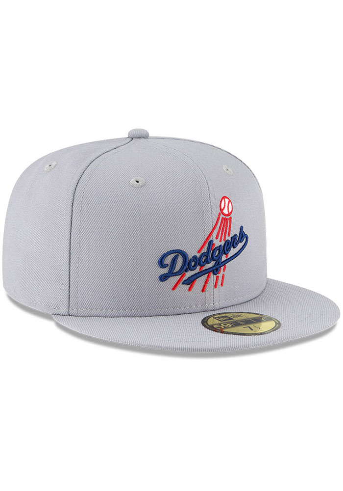 New Era Los Angeles Dodgers Mens Grey Cooperstown 59FIFTY Fitted Hat - Image 2