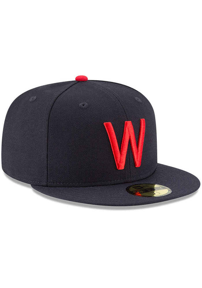 New Era Texas Rangers Mens Navy Blue Washington Senators Cooperstown 59FIFTY Fitted Hat - Image 2