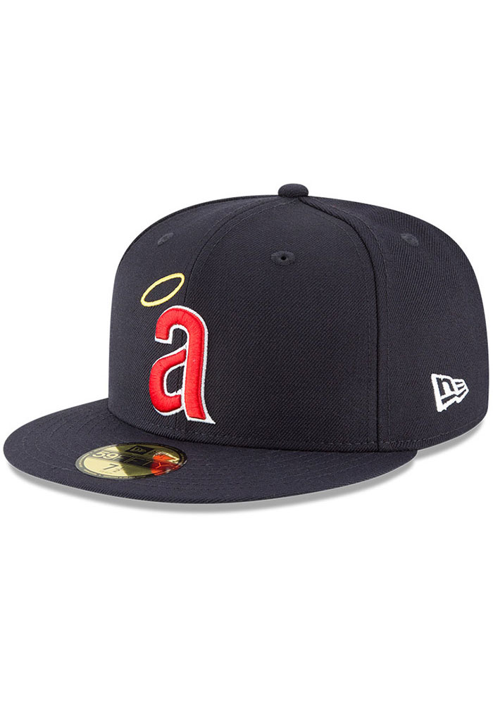 Los Angeles Angels New Era California Angels Cooperstown 59FIFTY Fitted Hat - Navy Blue