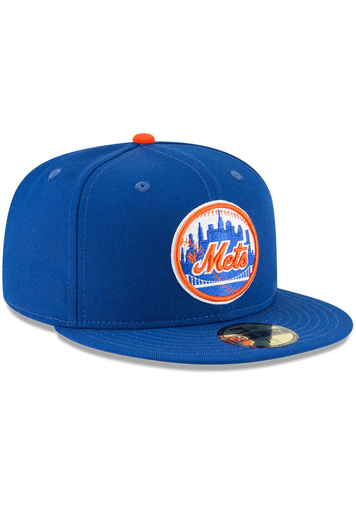 New Era New York Mets Mens Blue Cooperstown 59FIFTY Fitted Hat - Image 3
