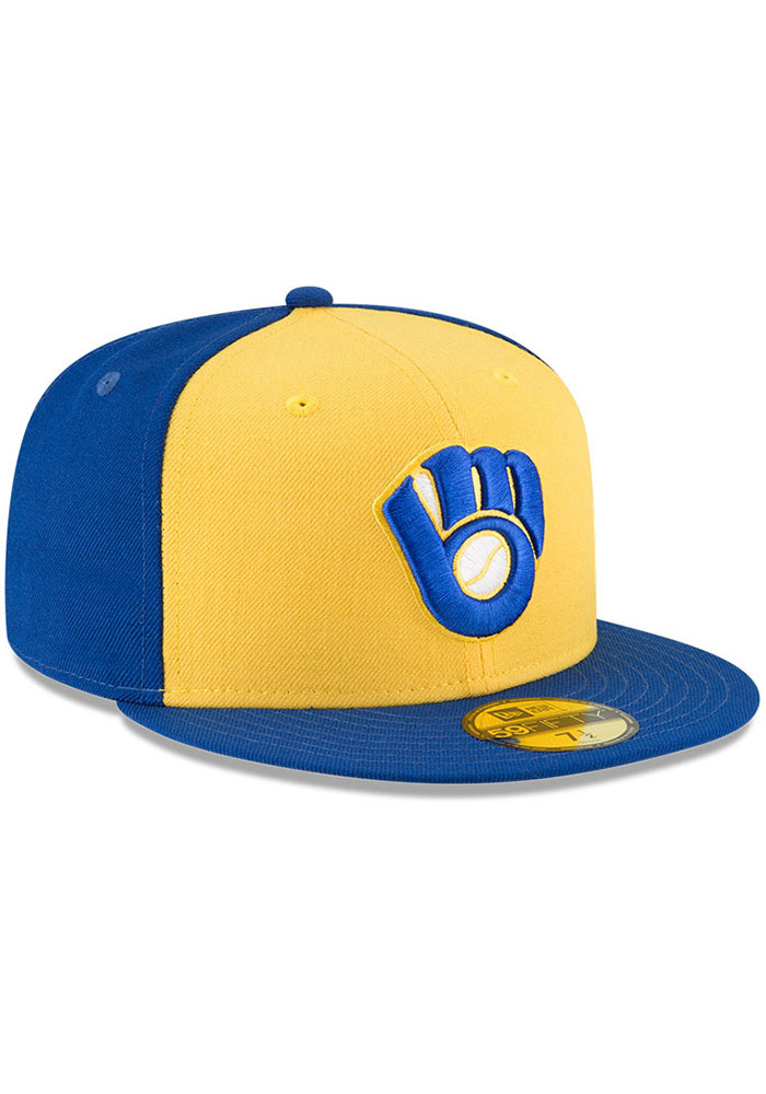New Era Milwaukee Brewers Mens Blue Cooperstown 59FIFTY Fitted Hat - Image 2