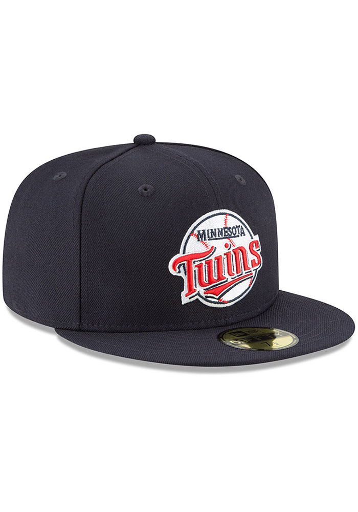 New Era Minnesota Twins Mens Navy Blue Cooperstown 59FIFTY Fitted Hat - Image 2