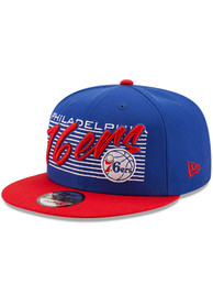 Philadelphia 76ers New Era Retro 9FIFTY Adjustable Hat - Blue