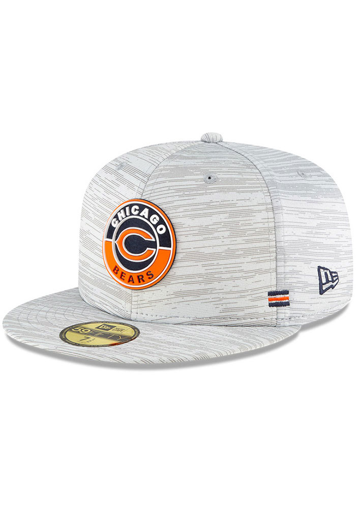 New Era Chicago Bears Mens Grey NFL20 OF Sideline 59FIFTY Fitted Hat - Image 1