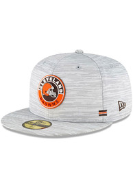 Cleveland Browns New Era NFL20 OF Sideline 59FIFTY Fitted Hat - Grey