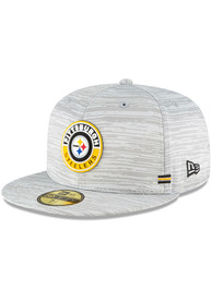 Pittsburgh Steelers New Era NFL20 OF Sideline 59FIFTY Fitted Hat - Grey