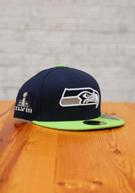 Seattle Seahawks New Era Super Bowl XLVIII Side Patch 59FIFTY Fitted Hat - Navy Blue