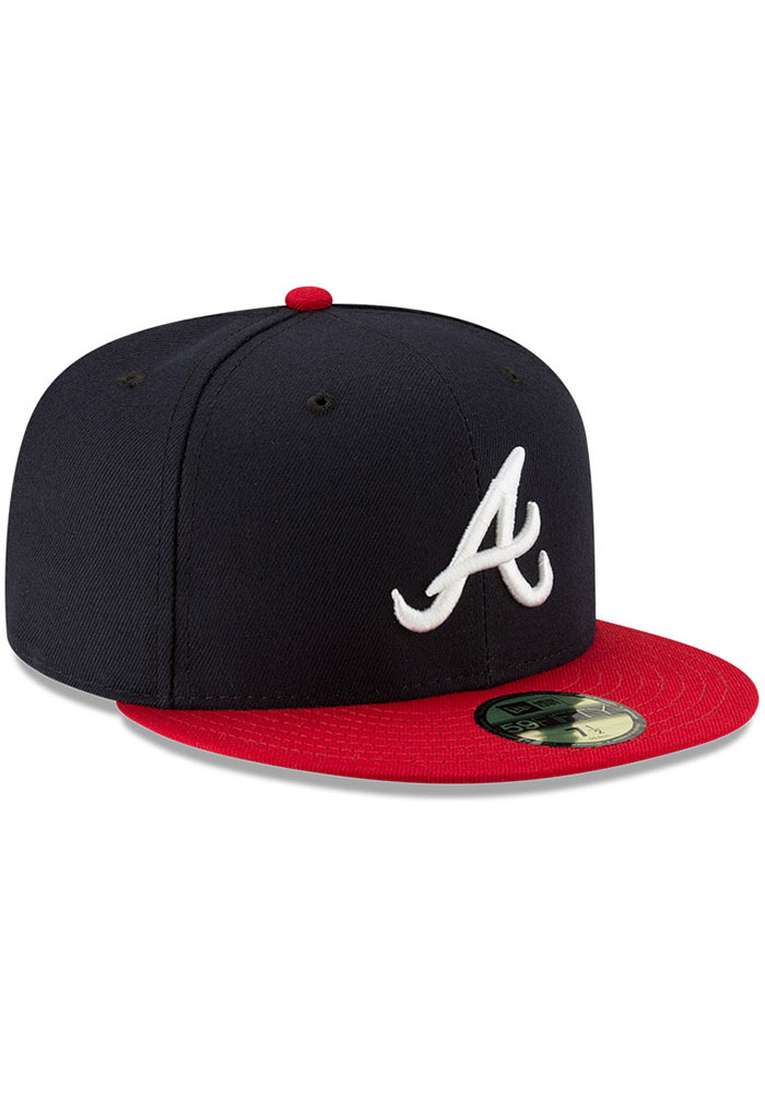 New Era Atlanta Braves Mens Navy Blue AC Home 59FIFTY Fitted Hat - Image 2