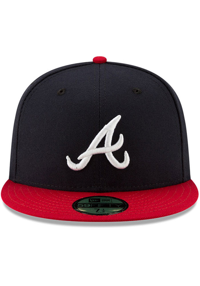 New Era Atlanta Braves Mens Navy Blue AC Home 59FIFTY Fitted Hat - Image 3