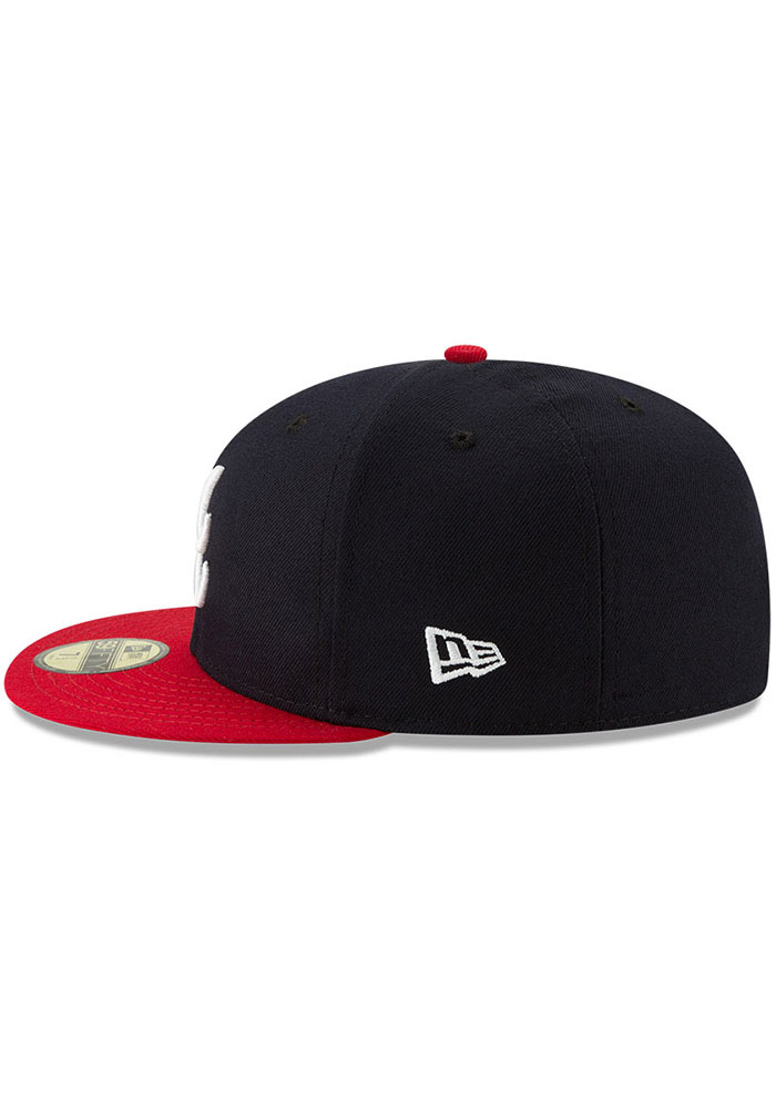 New Era Atlanta Braves Mens Navy Blue AC Home 59FIFTY Fitted Hat - Image 4