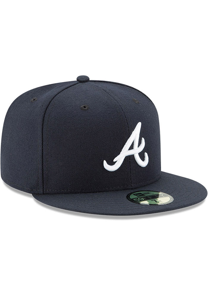 New Era Atlanta Braves Mens Navy Blue AC Road 59FIFTY Fitted Hat - Image 2