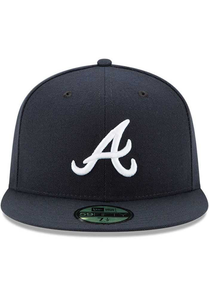 New Era Atlanta Braves Mens Navy Blue AC Road 59FIFTY Fitted Hat - Image 3