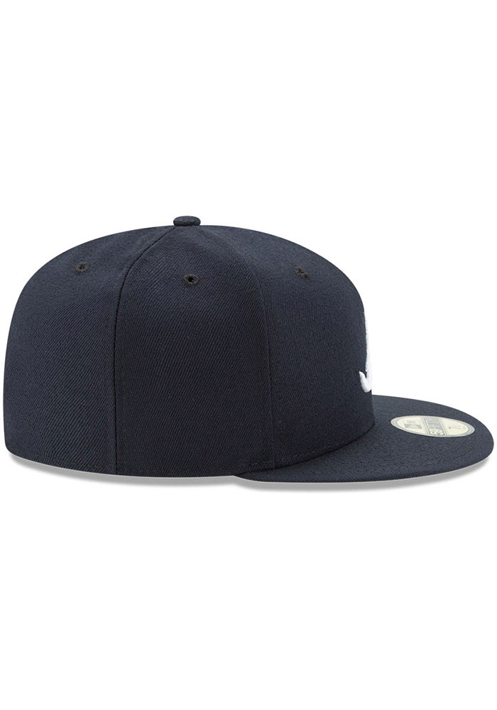 New Era Atlanta Braves Mens Navy Blue AC Road 59FIFTY Fitted Hat - Image 6
