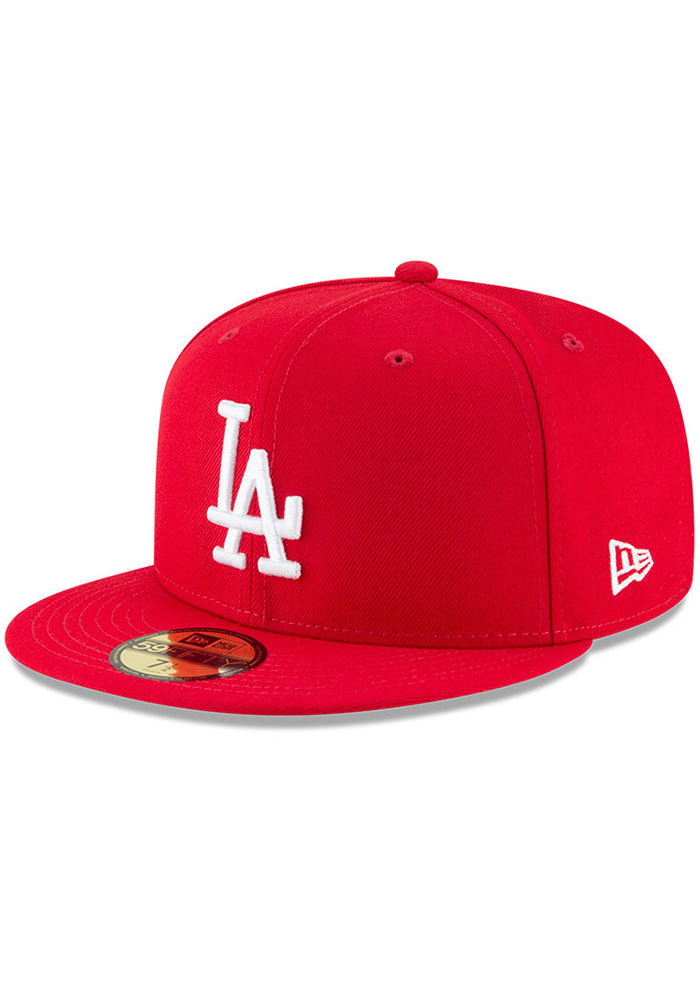 New Era Los Angeles Dodgers Mens Red Basic 59FIFTY Fitted Hat - Image 1