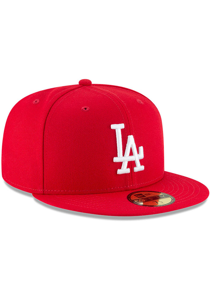 New Era Los Angeles Dodgers Mens Red Basic 59FIFTY Fitted Hat - Image 2