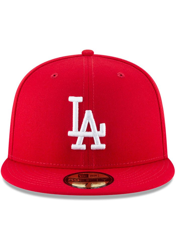 New Era Los Angeles Dodgers Mens Red Basic 59FIFTY Fitted Hat - Image 3