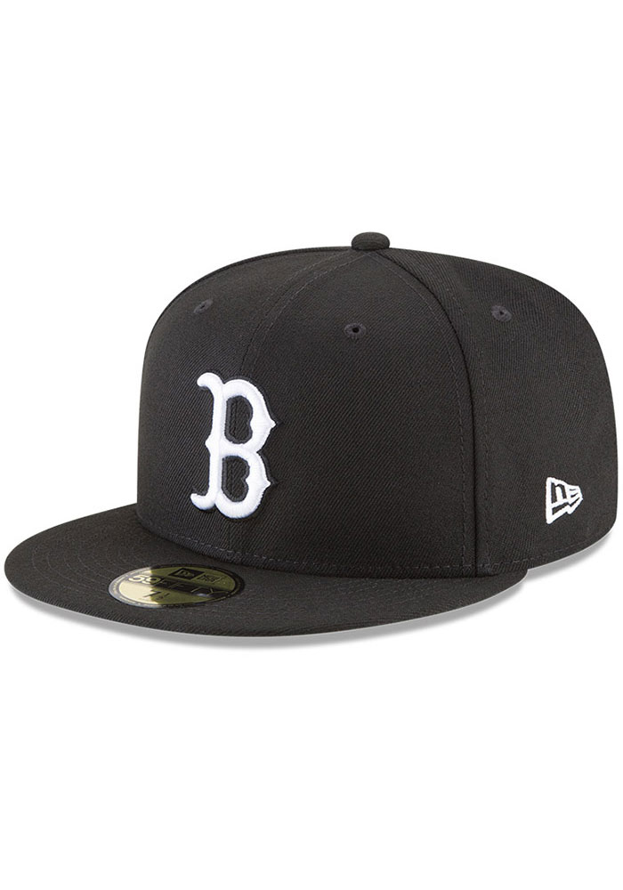 New Era Boston Red Sox Mens Black and White 59FIFTY Fitted Hat - Image 1