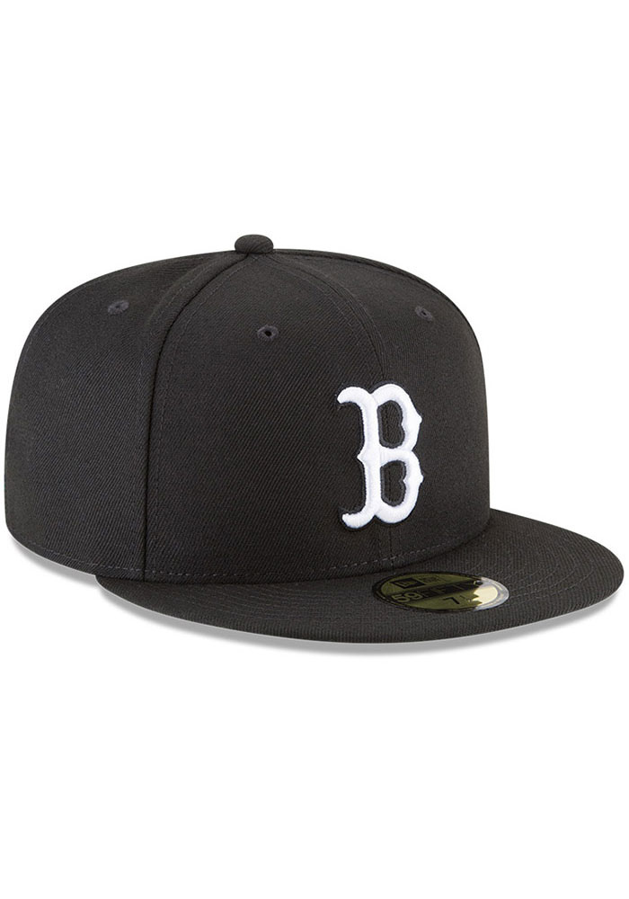New Era Boston Red Sox Mens Black and White 59FIFTY Fitted Hat - Image 2