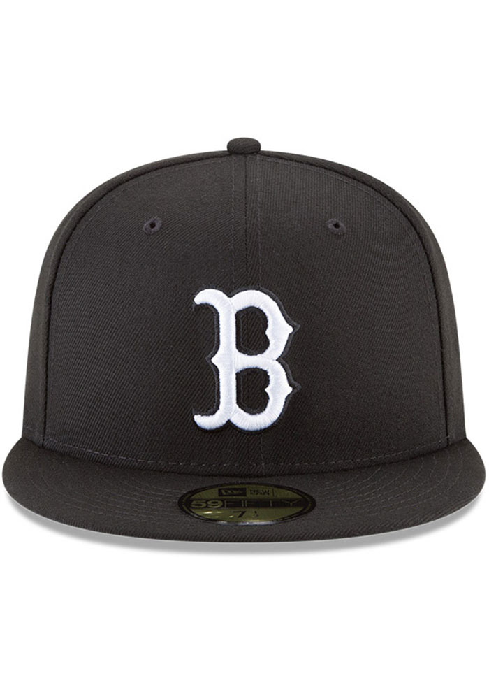 New Era Boston Red Sox Mens Black and White 59FIFTY Fitted Hat - Image 3