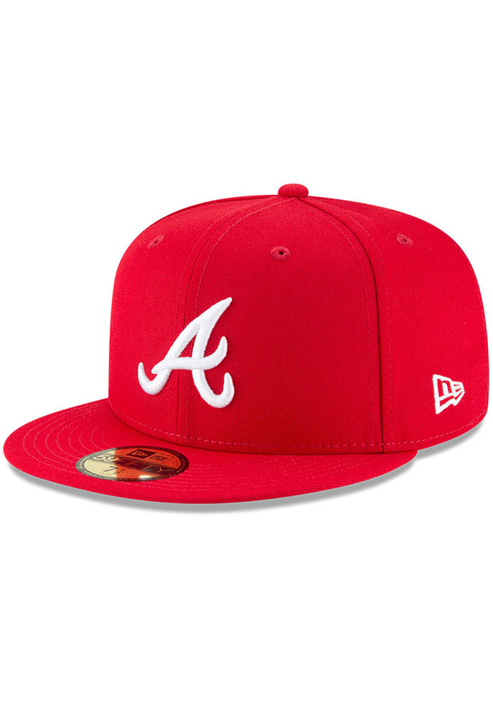 New Era Atlanta Braves Mens Red Basic 59FIFTY Fitted Hat - Image 1