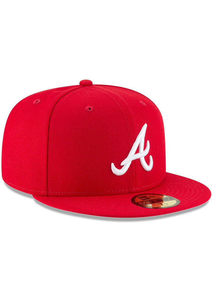 New Era Atlanta Braves Mens Red Basic 59FIFTY Fitted Hat - Image 2