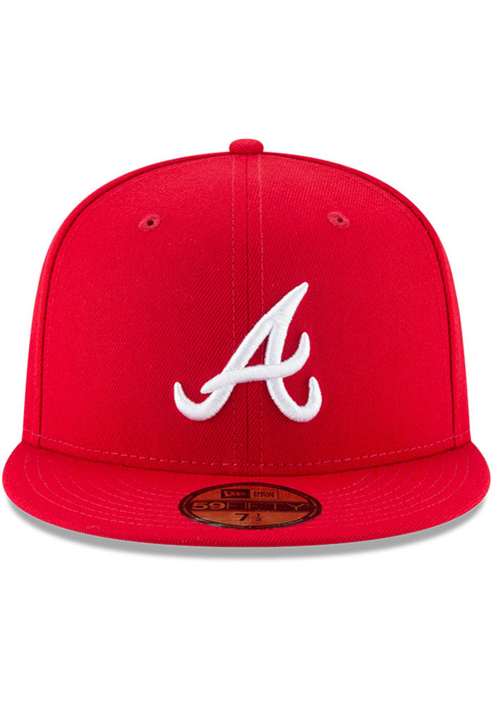 New Era Atlanta Braves Mens Red Basic 59FIFTY Fitted Hat - Image 3