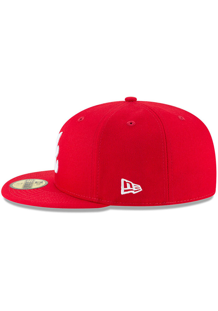 New Era Atlanta Braves Mens Red Basic 59FIFTY Fitted Hat - Image 4