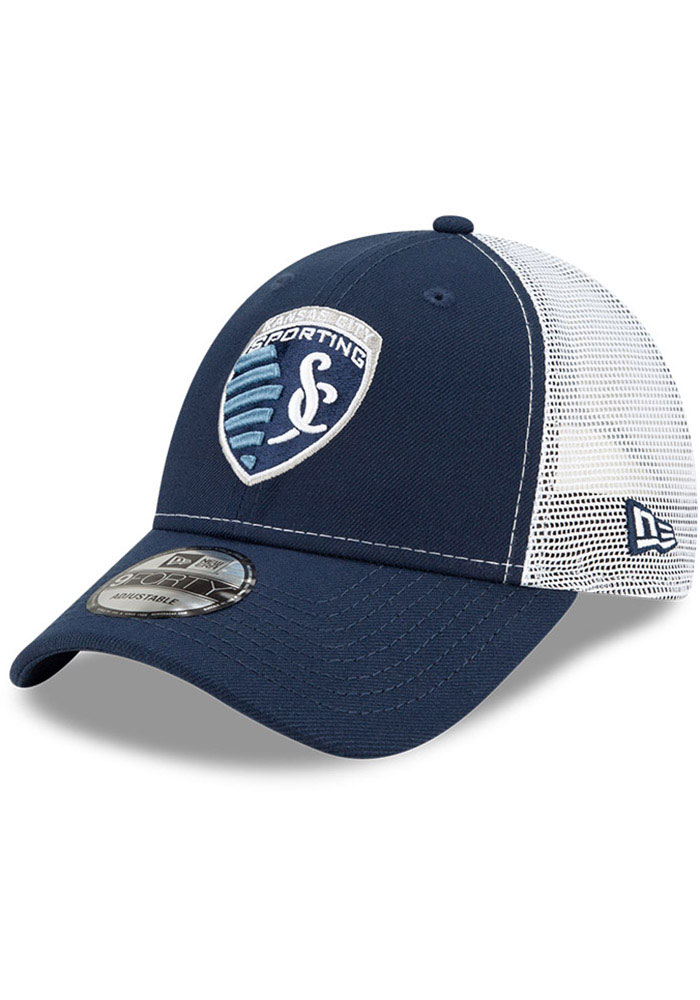 New Era Sporting Kansas City Team Truckered 9FORTY Adjustable Hat - Navy Blue - Image 1
