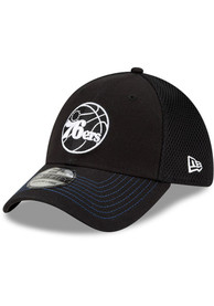 Philadelphia 76ers New Era and White Neo 39THIRTY Flex Hat - Black