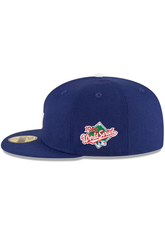 New Era Los Angeles Dodgers Mens Blue World Series Side Patch 59FIFTY Fitted Hat - Image 2