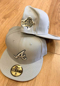 Atlanta Braves New Era Tonal Black Pop 1995 WS Side Patch 59FIFTY Fitted Hat - Grey