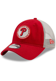 Philadelphia Phillies New Era Circle Trucker 9TWENTY Adjustable Hat - Red