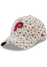 Philadelphia Phillies Womens New Era Cooperstown Floral 9TWENTY Adjustable - Ivory