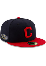 Cleveland Indians New Era AC 2020 Postseason Side Patch 59FIFTY Fitted Hat - Navy Blue