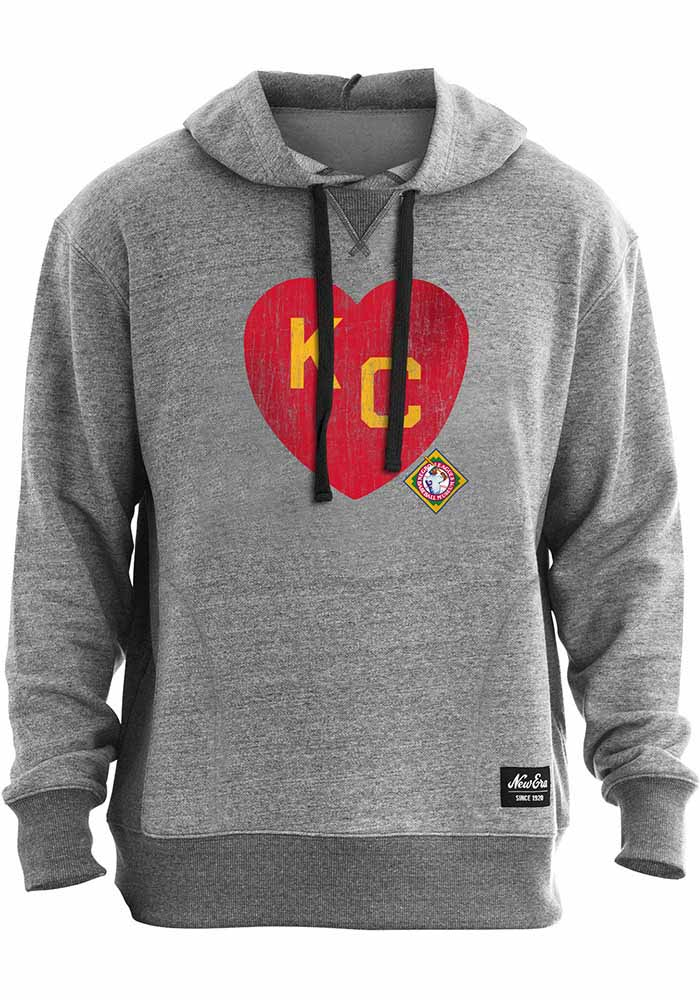 New Era Kansas City Monarchs Mens Charcoal KC Heart Fashion Hood - Image 1