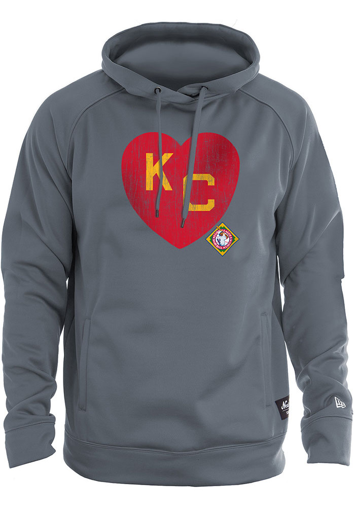 Kansas City Monarchs New Era KC Heart Hooded Sweatshirt - Charcoal