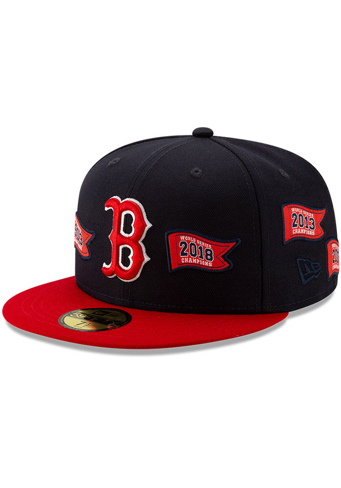 Boston Red Sox New Era World Series Banner 59FIFTY Fitted Hat - Navy Blue