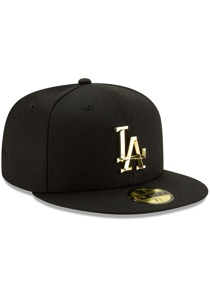 New Era Los Angeles Dodgers Mens Black Metal Beveled 59FIFTY Fitted Hat - Image 2