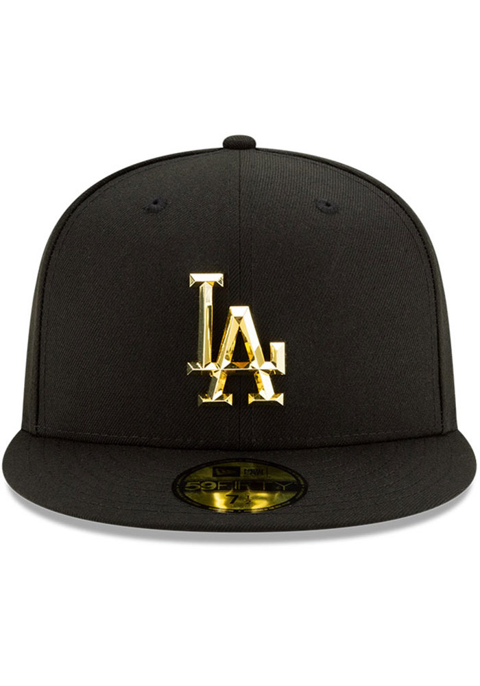 New Era Los Angeles Dodgers Mens Black Metal Beveled 59FIFTY Fitted Hat - Image 3