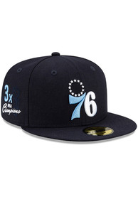 Philadelphia 76ers New Era Side Patch Paisley UV 59FIFTY Fitted Hat - Navy Blue