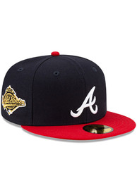 Atlanta Braves New Era Side Patch Paisley UV 59FIFTY Fitted Hat - Navy Blue