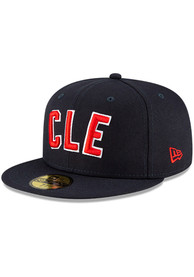 Cleveland Indians New Era MLB Ligature 59FIFTY Fitted Hat - Navy Blue