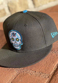 Miami Marlins New Era 5950 MIAMAR BLACK BLUE FANATIC Fitted Hat - Black