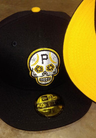 Pittsburgh Pirates New Era Sugar Skull 59FIFTY Fitted Hat - Black