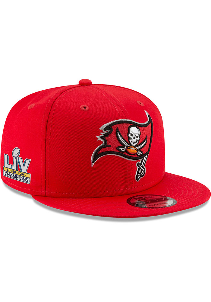New Era Tampa Bay Buccaneers Red Super Bowl LV Champs Side Patch 9FIFTY Mens Snapback Hat - Image 1