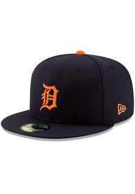 Detroit Tigers New Era Road AC 59FIFTY Fitted Hat - Navy Blue