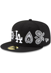 New Era Los Angeles Dodgers Mens Black Paisley Elements 59FIFTY Fitted Hat