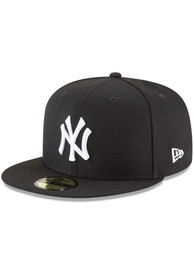 New York Yankees New Era New York Yankees Black On White 59Fifty Fitted Fitted Hat - Black