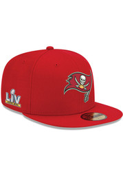 New Era Tampa Bay Buccaneers Mens Red Super Bowl LV Side Patch 59FIFTY Fitted Hat